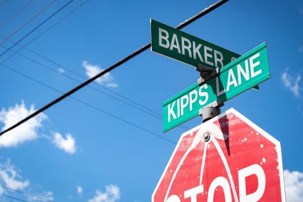 The street signs at the intersection of Kipps Lane and Barker Street