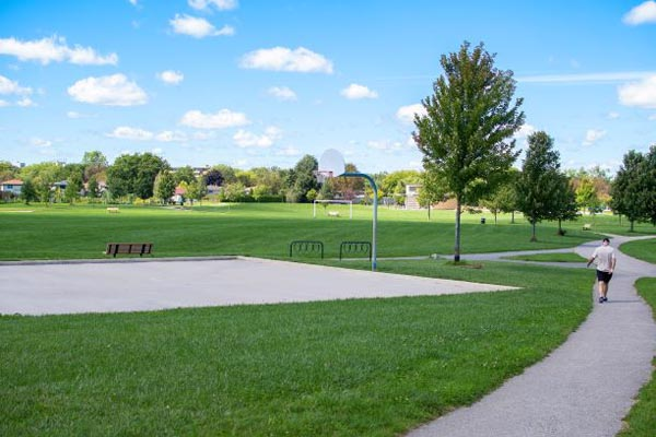 A view of the nearby community space, Ed Blake Park