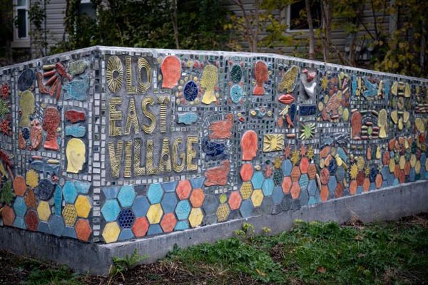 Another mosaic by London Clay Art Centre on Elizabeth St reading 'Old East Village'.